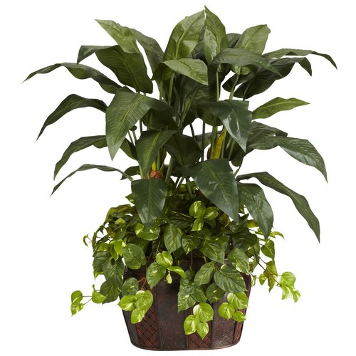 Nearly Natural Double Bird of Paradise with Vase and Pothos Decorative Silk Plant 4 Green 6636