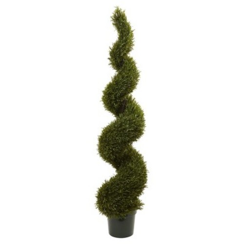 Nearly Natural 6 ft. Indoor/Outdoor Rosemary Spiral Tree