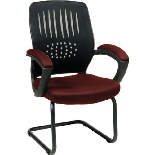 Office Star WorkSmart Fabric Guest Chair with Screen Back, Burgundy