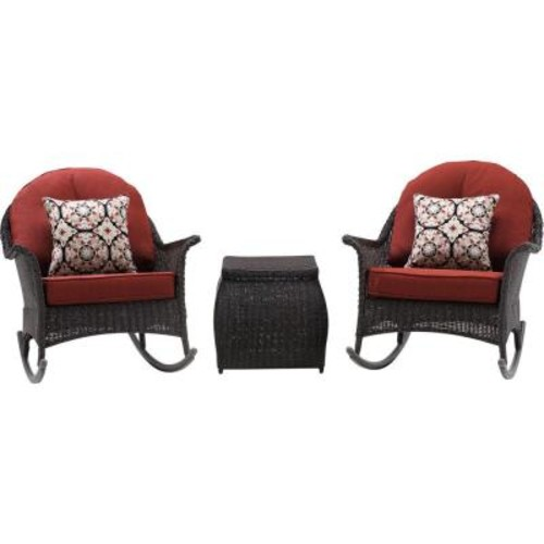 Hanover San Marino 3-Piece All-Weather Wicker Patio Rocker Seating Set with Crimson Red Cushions