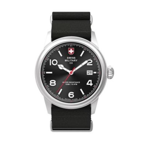 Swiss Military by Charmex Vintage Men's 40mm Watch in Stainless Steel with Black Nylon Strap