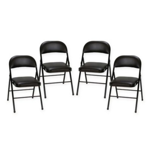 Steel Folding Chairs in Black (Set of 4)
