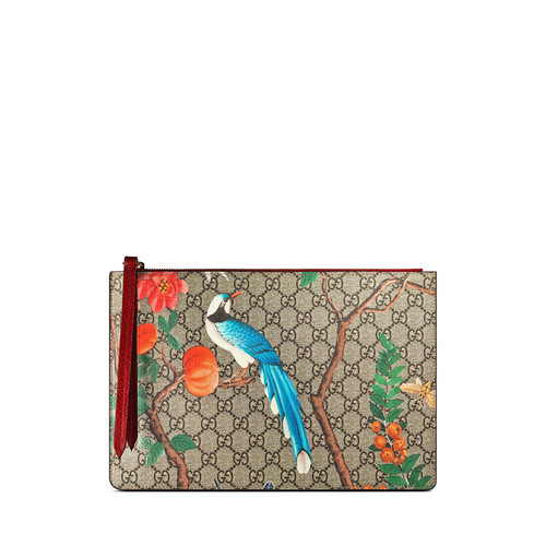 GUCCI Gg Supreme Tian Canvas Zip Pouch, Multi