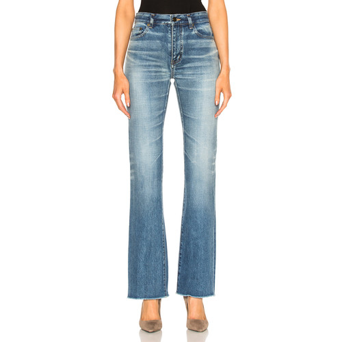 SAINT LAURENT Cropped Flare Jeans In Dirty Vintage Blue