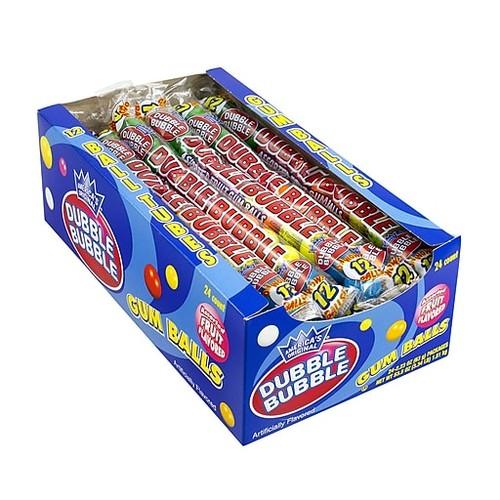 Dubble Bubble Gum Ball Tubes Assorted, 24 Count (201)