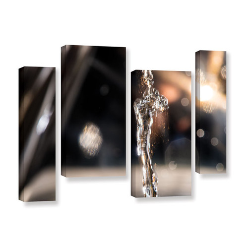 David Stahl's 'Crazy Gold Silver Water Flow' 4-piece Gallery Wrapped Canvas Staggered Set