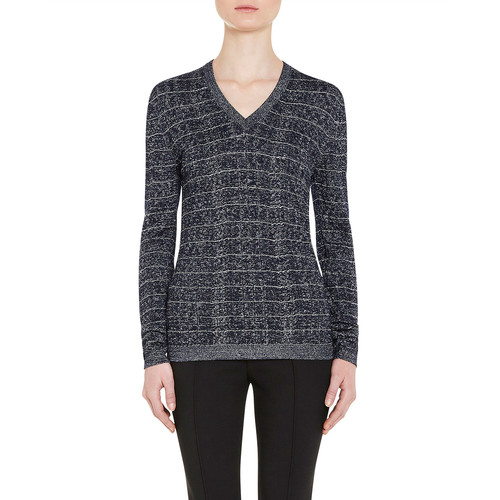 PRADA Metallic V-Neck Pullover Sweater, Navy