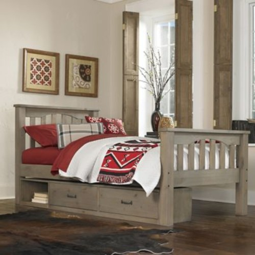 Hillsdale Kids and Teens Highlands Harper Twin Bed with Storage in Driftwood