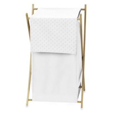 Sweet Jojo Designs Minky Dot Laundry Hamper in White