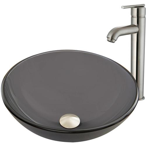 VIGO Sheer Black Frost Glass Vessel Sink and Seville Faucet Set in Brushed Nickel Finish