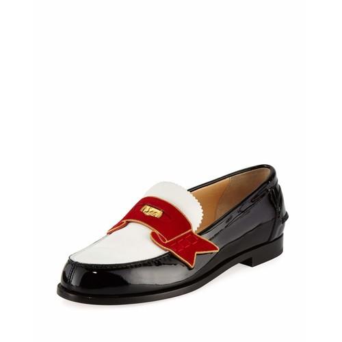 CHRISTIAN LOUBOUTIN Monana Patent Flat Loafer, Black