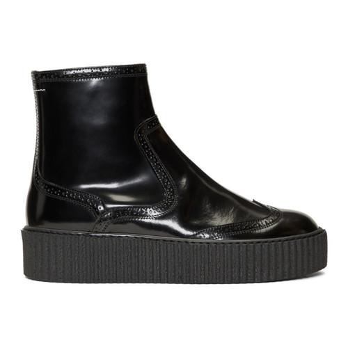 MM6 MAISON MARTIN MARGIELA Black Platform Sock Boots