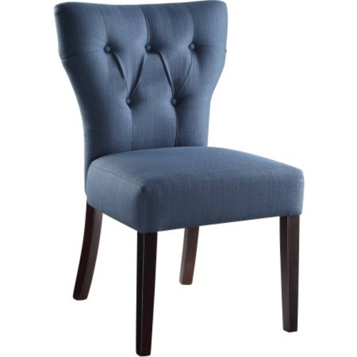 AVE SIX Andrew Upholstered Armless Accent Chair with Wood Legs, Klein Azure [Klein Azure]