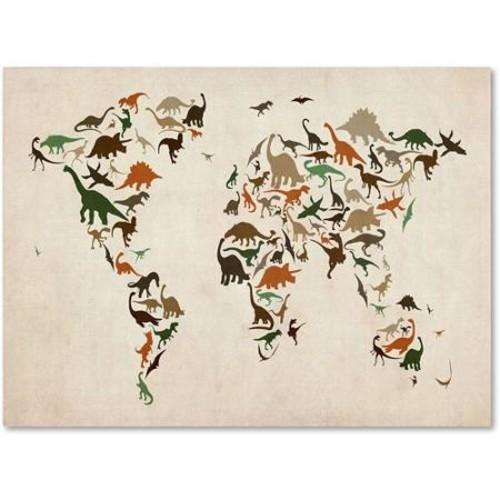 Trademark Art 'Dinosaur World Map 2' Canvas Art by Michael Tompsett