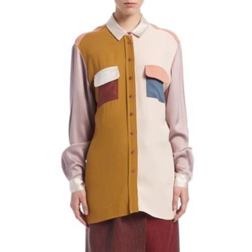 LANVIN Patchwork Button-Front Shirt