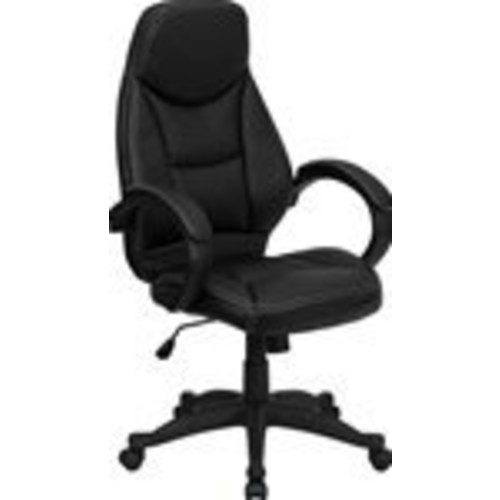 Flash Furniture High Back Black Leather Contemporary Executive Swivel Chair with Arms [Black]