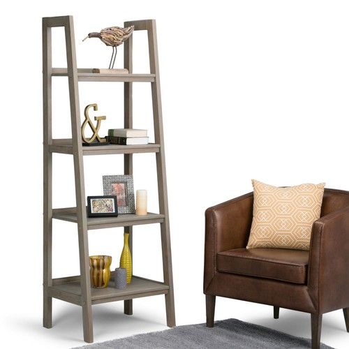 Simpli Home Sawhorse Distressed Grey Ladder Bookcase