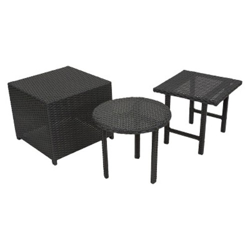 Christopher Knight Home Danica Set of 3 Wicker Patio Tables - Black