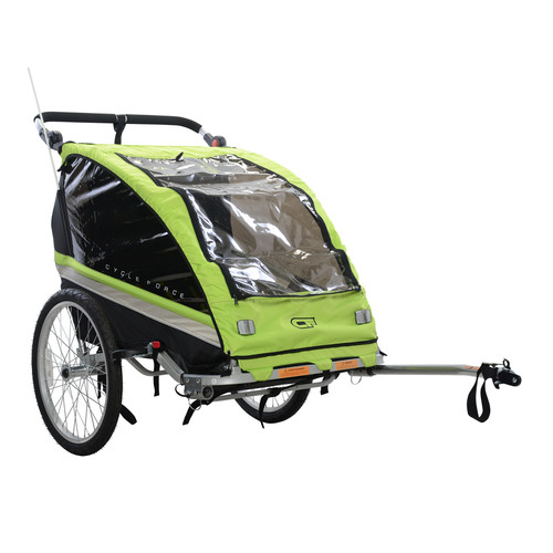 Cycle Force Group C23 Double Child 3-In-1 Bicycle Trailer, Jogger, Stroller