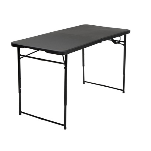 Cosco Home and Office Products 4 ft. Black Adjustable Height Center Fold Tailgate Table with Carrying Handle