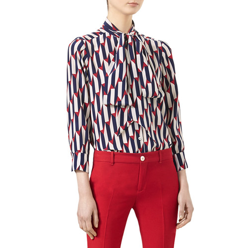 GUCCI Arrow-Print 3/4-Sleeve Shirt, Blue/Red