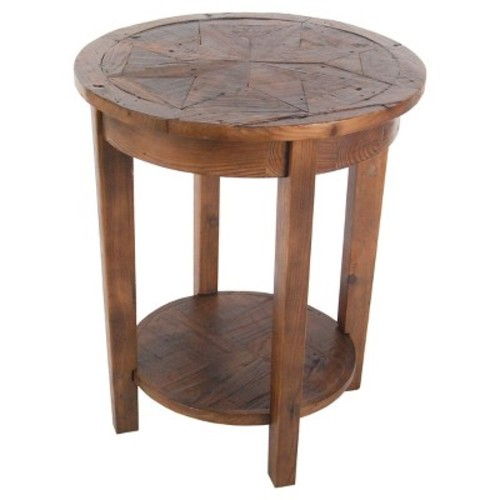 Round End Table Reclaimed Wood Natural - Alaterre Furniture