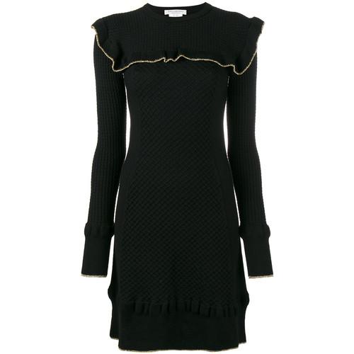 frilled waffle knit mini dress