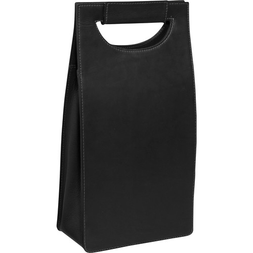 Piel Leather Double Deluxe Wine Carrier, Black, One Size [Black]