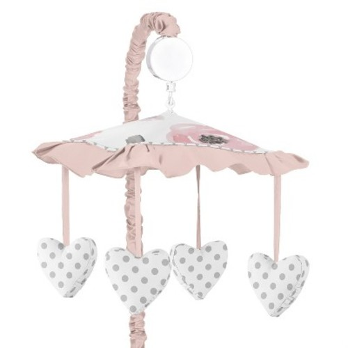 Sweet Jojo Designs Pink and Grey Floral Collection Musical Mobile