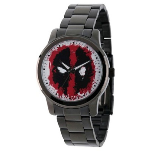 Men's Marvel's Deadpool Black Alloy Watch - Black