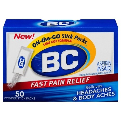 BC Aspirin Fast Pain Relief Powder, Quickly Relieves Pain Due to Headaches, Body Aches and Fever, Contains Caffeine, 50 Powders [50 COUNT, Original]