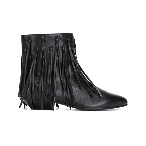 SAINT LAURENT Fringed Ankle Boots
