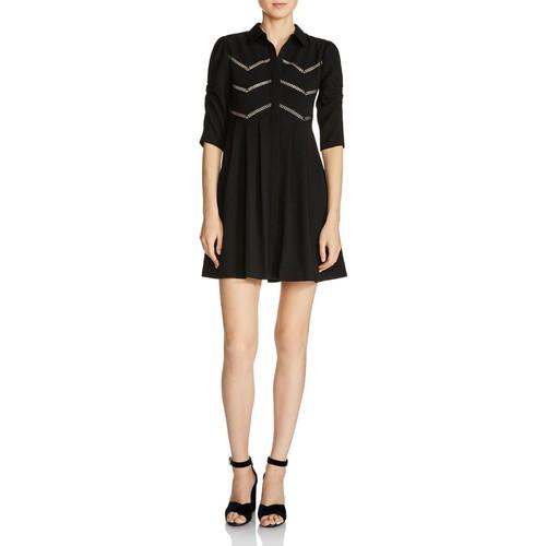 MAJE Ratila Lace-Inset A-Line Mini Dress