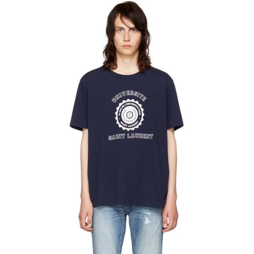 SAINT LAURENT Navy 'Université' Logo T-Shirt