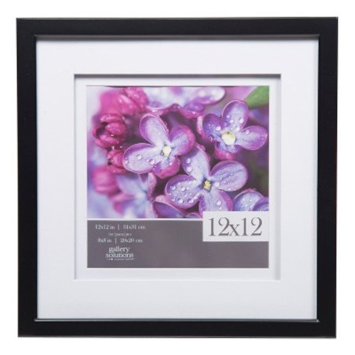 Single Image 12X12 Wide Double Mat Black 8X8 Frame - Gallery Solutions