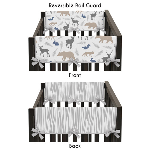 Sweet Jojo Designs Woodland Animals Reversible Side Crib Rail Guard Covers