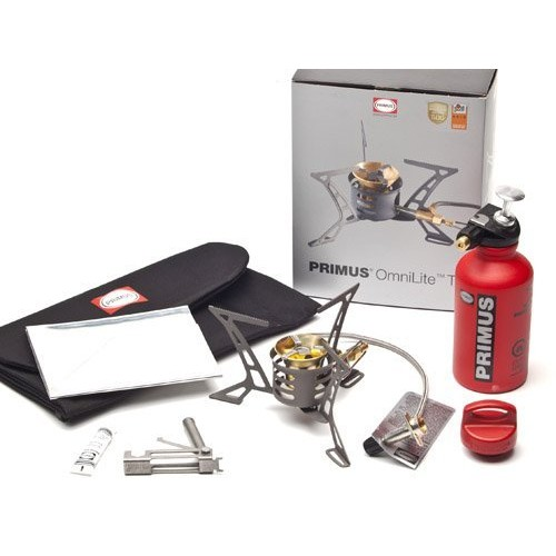Primus P-321987 OmniLite Ti Camp Stove with 0.35-Liter Fuel Bottle, Heat Reflector and Windscreen, Grey : Primus Omnilite Ti : Sports & Outdoors [Grey, One Size]