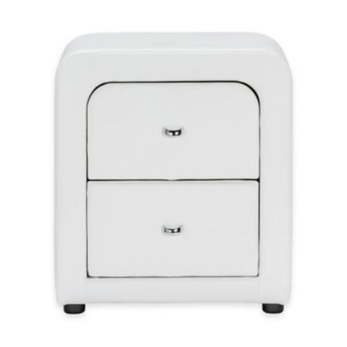 Baxton Studio Bourbon Upholstered Nightstand in White