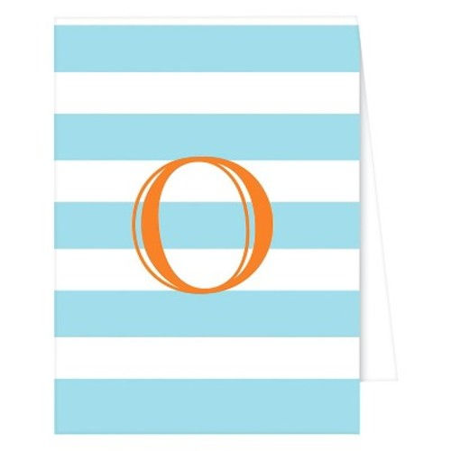 RosanneBECK Collections Light Pink Note Cards - Cabana Stripe Monogram