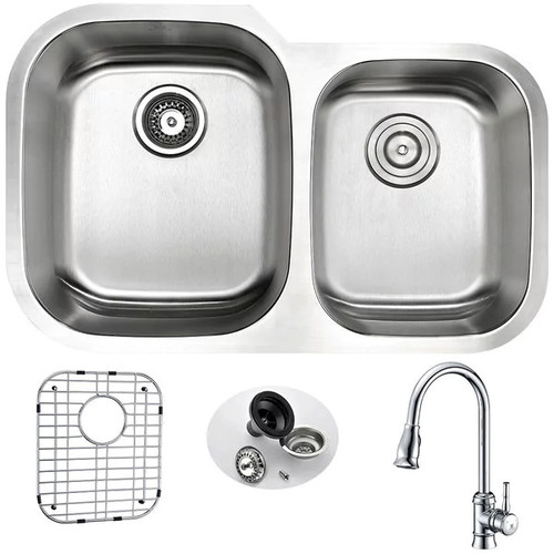 Anzzi Moore Silvertone Stainless Steel Undermount Double-bowl Kitchen Sink and Faucet Set - Brushed