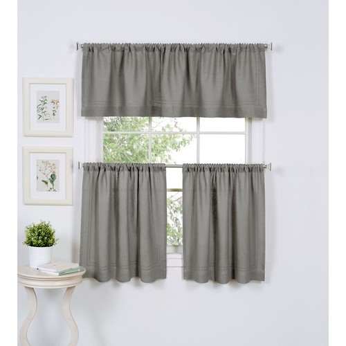 Semi-Opaque Cameron 30 in. W x 24 in. L Linen Kitchen Tiers in Gray (Set of 2)