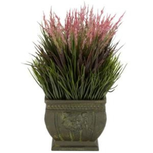 Nearly Natural 13 in. H Green Mixed Grass Silk Plant (Indoor/Outdoor)
