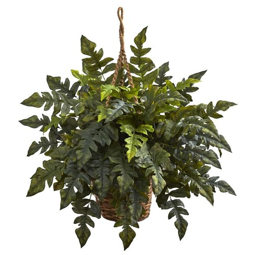 Nearly Natural Holly fern Hanging Basket in Green