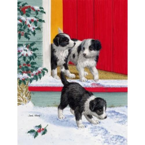 Caroline's Treasures Christmas Border Collie Pups 2-Sided Garden Flag