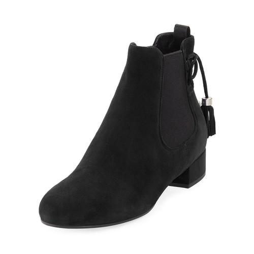 PRADA Suede Tassel-Tie Flat Chelsea Boot