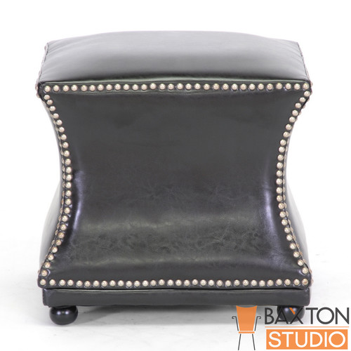 Baxton Studio Ellastone Dark Brown Modern Leather Ottoman