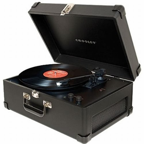 Crosley CR6249A-BK Keepsake Portable USB Turntable with Software for Ripping & Editing Audio, Black [Black]
