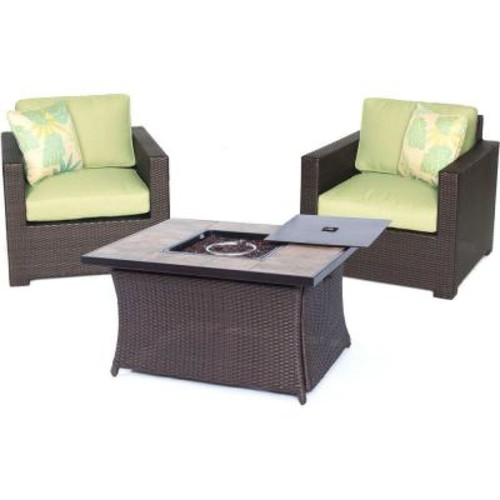 Hanover Metropolitan 3-Piece All-Weather Wicker Patio LP Gas Fire Pit Chat Set with Avocado Green Cushions