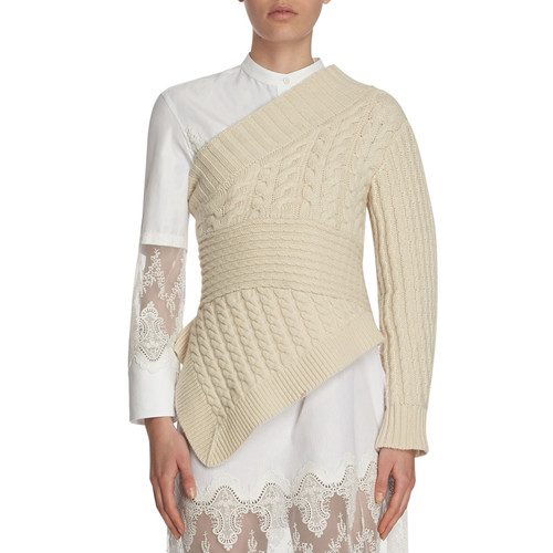 BURBERRY Cable-Knit Cashmere One-Shoulder Sweater, White