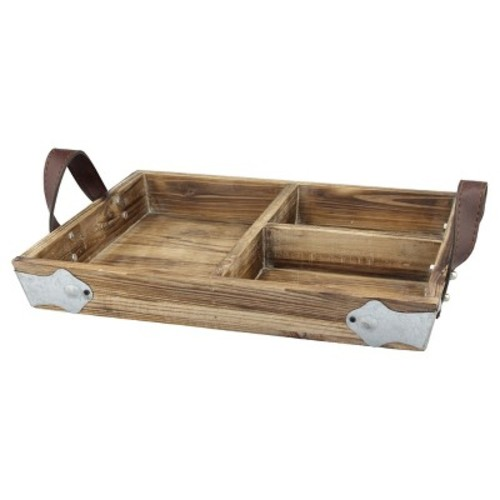Stonebriar Collection Brown Wood Tray with Leather Handles